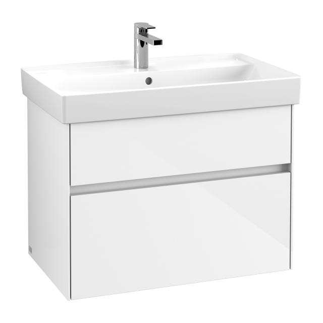 Villeroy & Boch Collaro vanity unit with 2 pull-out compartments front glossy white / corpus glossy white, recessed handle matt white