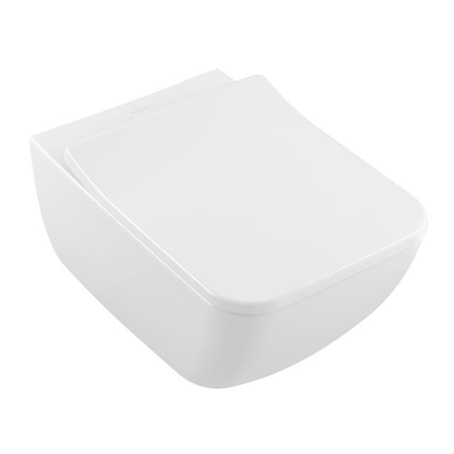 Villeroy & Boch Collaro wall-mounted washdown toilet, DirectFlush, with SlimSeat toilet seat, combi pack white, with CeramicPlus