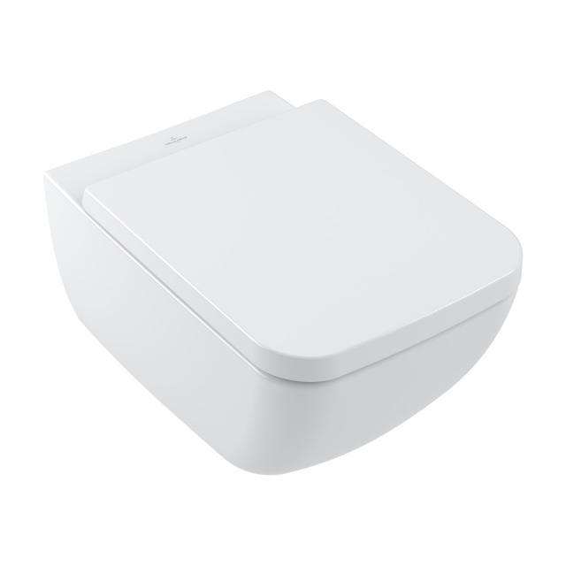 Villeroy & Boch Collaro wall-mounted washdown toilet, DirectFlush, with toilet seat, combi pack white, with CeramicPlus