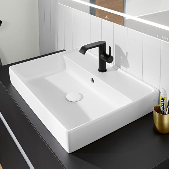 Villeroy & Boch Collaro washbasin white, with CeramicPlus, with 1 tap hole, with overflow, grounded