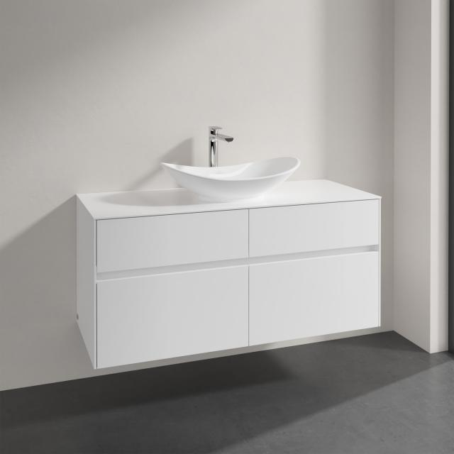 Villeroy & Boch Embrace vanity unit with 4 pull-out compartments for 1 countertop washbasin front glossy white/corpus glossy white, countertop glossy white, recessed handle matt white