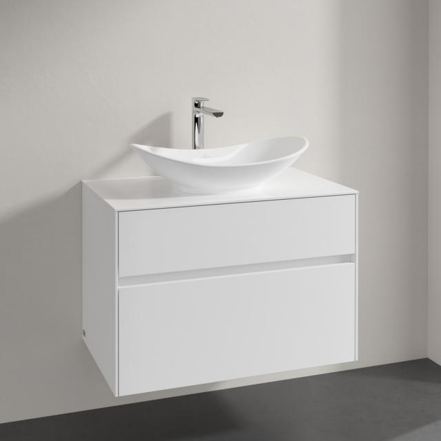 Villeroy & Boch Embrace vanity unit with 2 pull-out compartments for 1 countertop washbasin front glossy white/corpus glossy white, countertop glossy white, recessed handle matt white