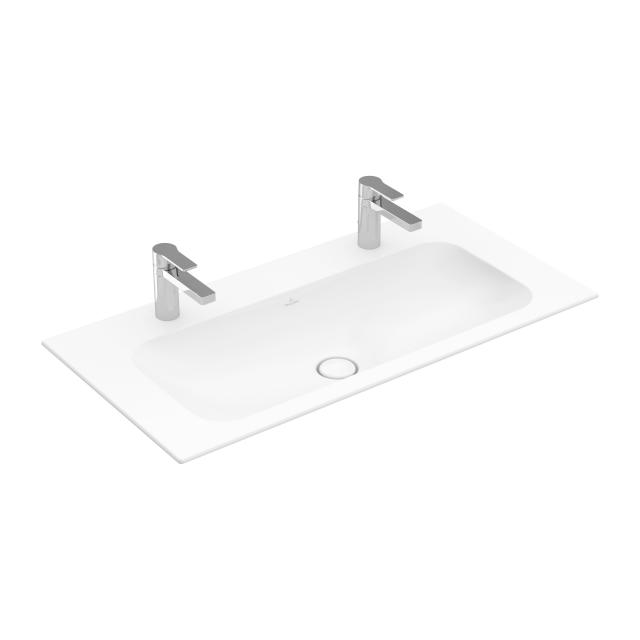 Villeroy & Boch Finion double vanity washbasin stone white, with CeramicPlus, with 2 tap holes, without overflow