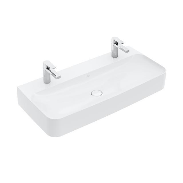 Villeroy & Boch Finion double washbasin stone white, with CeramicPlus, grounded, without overflow