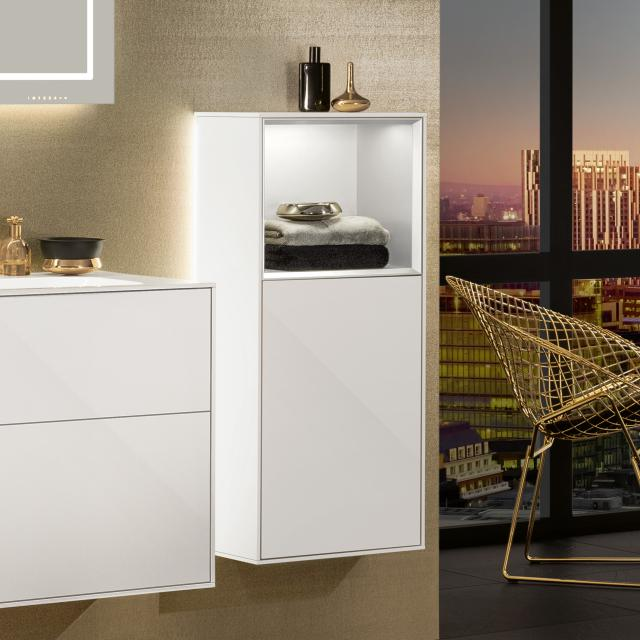 Villeroy & Boch Finion LED side unit with 1 door, rack element top front glossy white / corpus glossy white