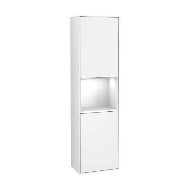 Villeroy & Boch Finion LED tall unit with 2 doors, rack element central front matt white / corpus matt white