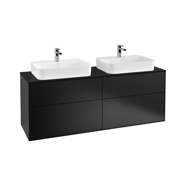 Villeroy & Boch Finion LED vanity unit with 4 pull-out compartments for 2 countertop basins front matt black / corpus matt black, top matt black