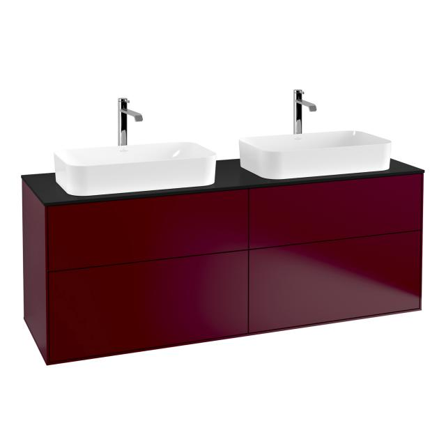 Villeroy & Boch Finion LED vanity unit with 4 pull-out compartments for 2 countertop basins front peony / corpus peony, top matt black