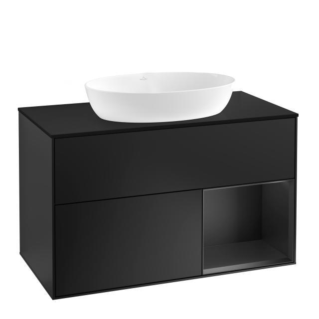 Villeroy & Boch Finion LED vanity unit for countertop washbasin with 2 pull-out compartments, rack element right front matt black / corpus matt black, top cover matt black
