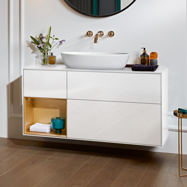 Villeroy & Boch Finion LED vanity unit for countertop washbasin with 3 pull-out compartments, rack element left front glossy white / corpus glossy white/matt gold, top cover matt white