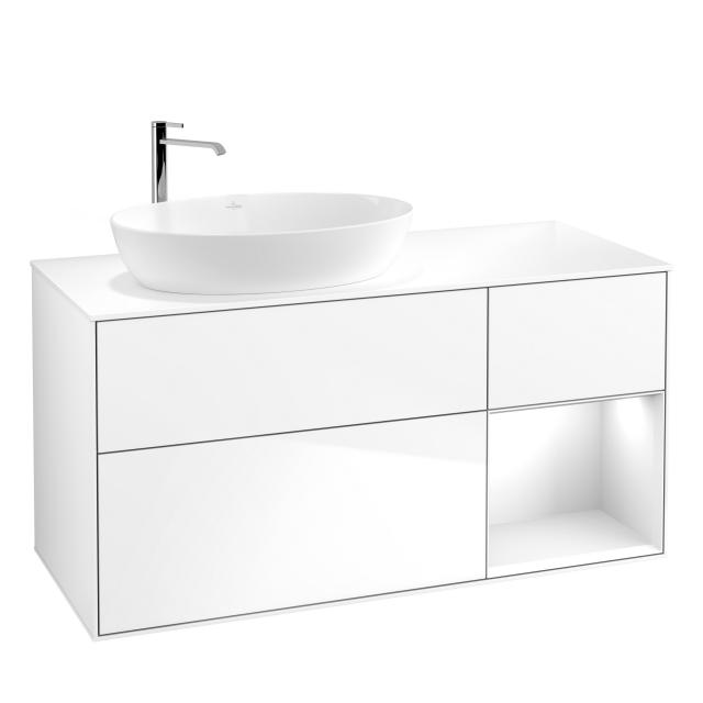 Villeroy & Boch Finion LED vanity unit for countertop washbasin with 3 pull-out compartments, rack element right front glossy white / corpus glossy white, top cover matt white