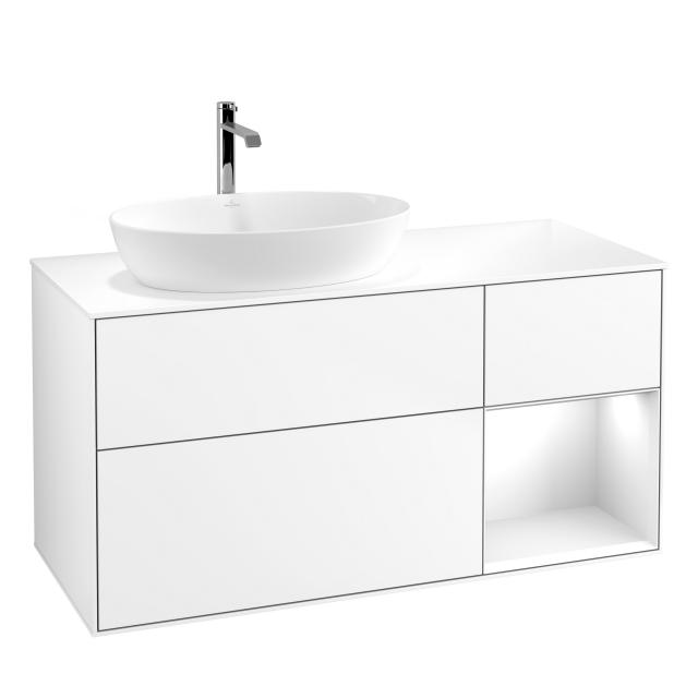 Villeroy & Boch Finion LED vanity unit for countertop washbasin with 3 pull-out compartments, rack element right front matt white / corpus matt white, top cover matt white
