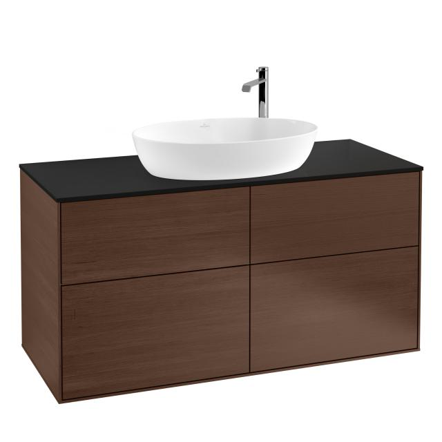 Villeroy & Boch Finion LED vanity unit for countertop washbasin with 4 pull-out compartments front walnut / corpus walnut, top cover matt black
