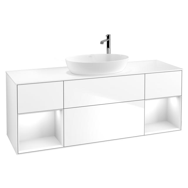 Villeroy & Boch Finion LED vanity unit for countertop washbasin with 4 pull-out compartments, rack element left & right front glossy white / corpus glossy white, top cover matt white