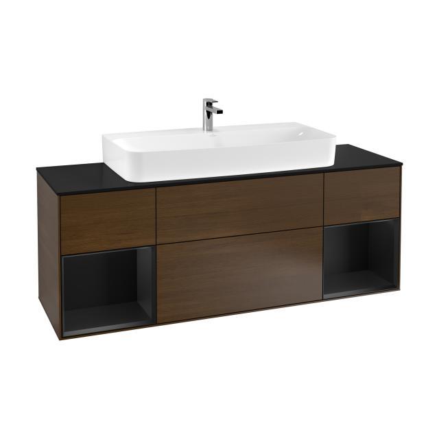 Villeroy & Boch Finion LED vanity unit with 4 pull-out compartments for countertop basins, rack element left & right front walnut / corpus walnut/matt black, top matt black