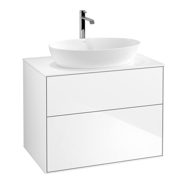 Villeroy & Boch Finion LED vanity unit for countertop washbasin with 2 pull-out compartments front glossy white / corpus glossy white, top cover matt white