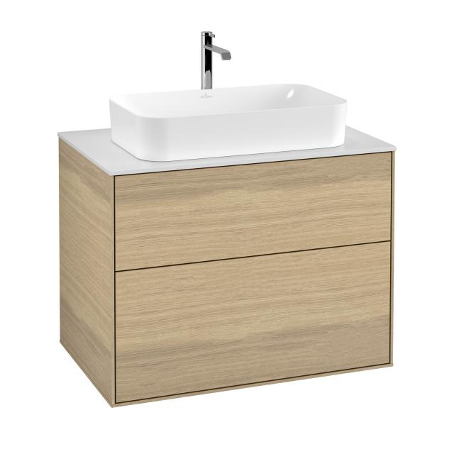 Villeroy & Boch Finion LED vanity unit with 2 pull-out compartments for countertop basins front oak veneer / corpus oak veneer, top cover matt white