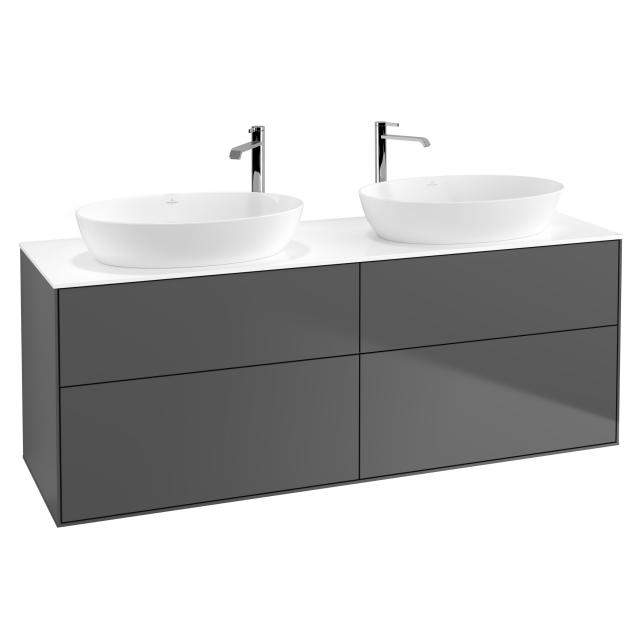 Villeroy & Boch Finion vanity unit for 2 countertop washbasins with 4 pull-out compartments front matt anthracite / corpus matt anthracite, top cover matt white