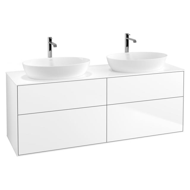 Villeroy & Boch Finion vanity unit for 2 countertop washbasins with 4 pull-out compartments front matt white / corpus matt white, top cover matt white