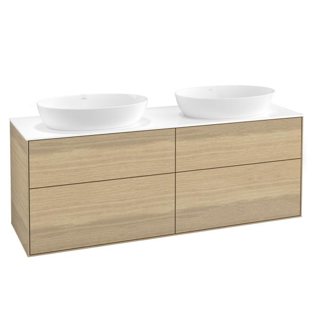 Villeroy & Boch Finion vanity unit for 2 countertop washbasins with 4 pull-out compartments front oak veneer / corpus oak veneer, top cover matt white