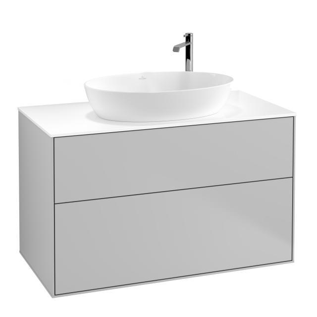Villeroy & Boch Finion vanity unit for countertop washbasin with 2 pull-out compartments front matt light grey / corpus matt light grey, top cover matt white