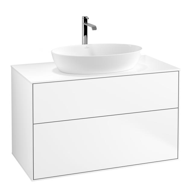 Villeroy & Boch Finion vanity unit for countertop washbasin with 2 pull-out compartments front matt white / corpus matt white, top cover matt white
