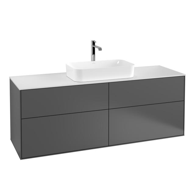 Villeroy & Boch Finion vanity unit with 4 pull-out compartments for countertop basins front matt anthracite / corpus matt anthracite, top matt white