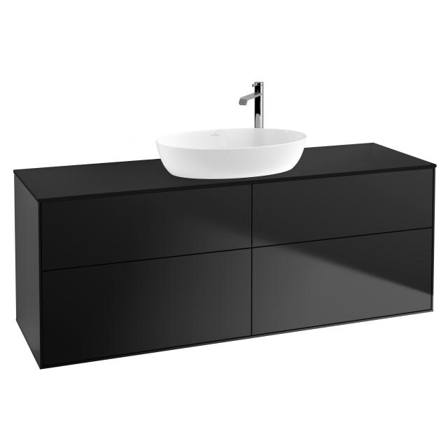 Villeroy & Boch Finion vanity unit for countertop washbasin with 4 pull-out compartments front matt black / corpus matt black, top cover matt black