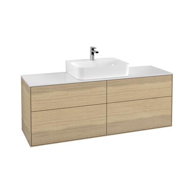 Villeroy & Boch Finion vanity unit with 4 pull-out compartments for countertop basins front oak veneer / corpus oak veneer, top cover matt white