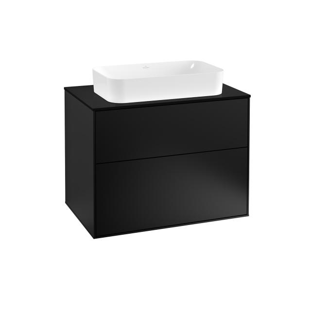 Villeroy & Boch Finion vanity unit with 2 pull-out compartments for countertop basins front matt black / corpus matt black, top matt black