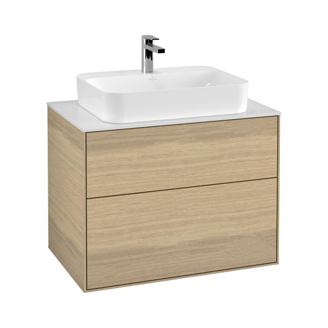 Villeroy & Boch Finion vanity unit with 2 pull-out compartments for countertop basins front oak veneer / corpus oak veneer, top cover matt white