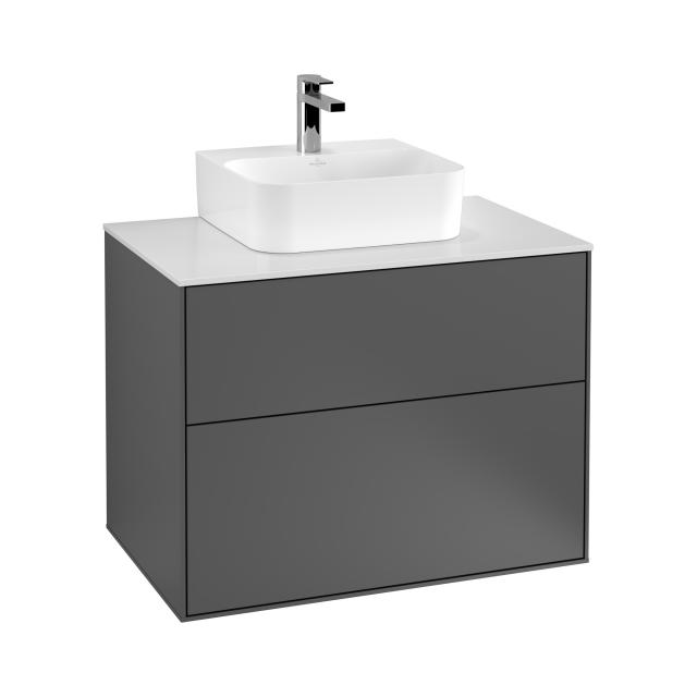 Villeroy & Boch Finion vanity unit for hand washbasin with 2 pull-out compartments front matt anthracite / corpus matt anthracite, top matt white