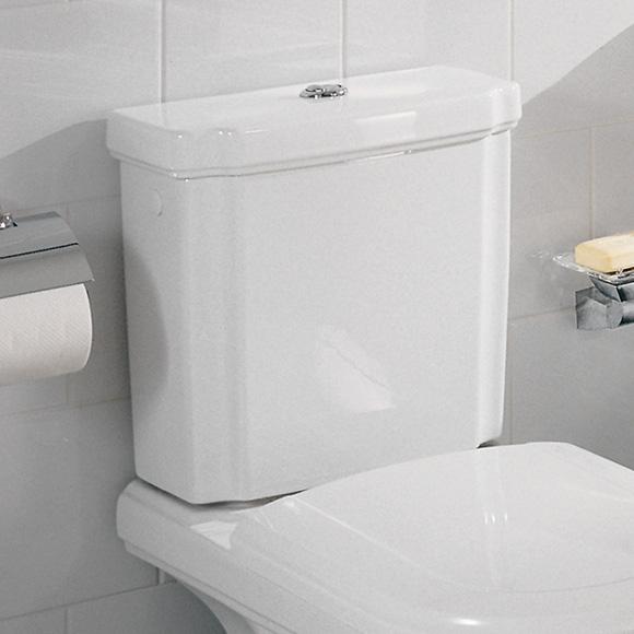 Villeroy & Boch Hommage cistern white, with CeramicPlus, brass water-saving button