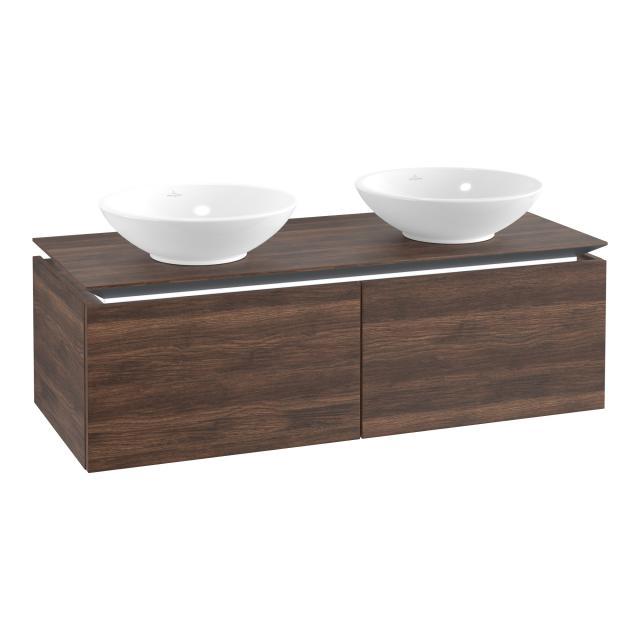 Villeroy & Boch Legato LED vanity unit for 2 countertop washbasins with 2 pull-out compartments front arizona oak / corpus arizona oak