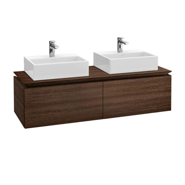 Villeroy & Boch Legato LED vanity unit for 2 countertop washbasins with 2 pull-out compartments front santana oak / corpus santana oak