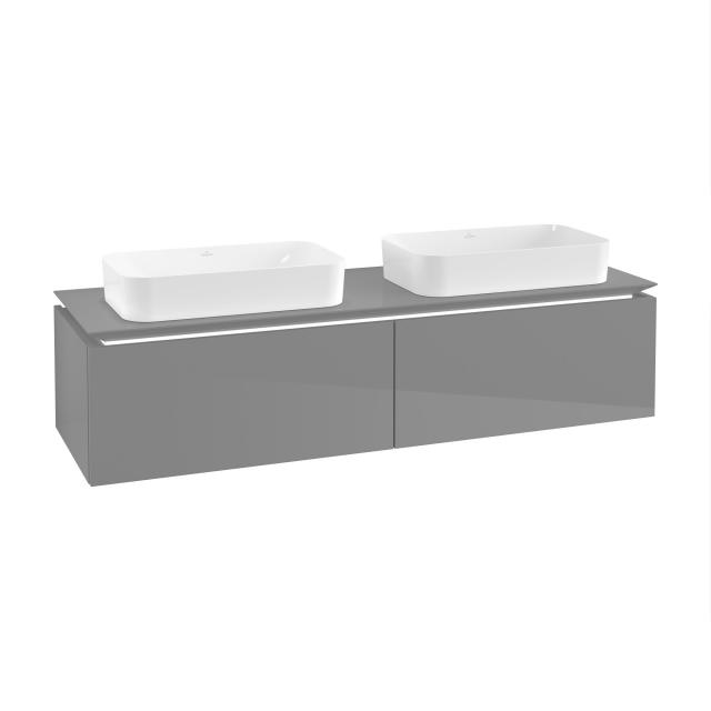 Villeroy & Boch Legato LED vanity unit for 2 countertop washbasins with 2 pull-out compartments front glossy grey / corpus glossy grey