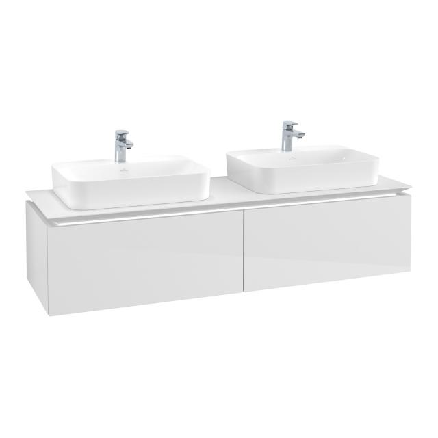 Villeroy & Boch Legato LED vanity unit for 2 countertop washbasins with 2 pull-out compartments front glossy white / corpus glossy white