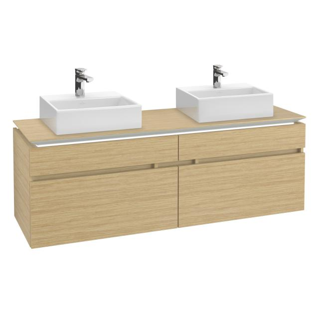 Villeroy & Boch Legato LED vanity unit for 2 countertop washbasins with 4 pull-out compartments front nordic oak / corpus nordic oak