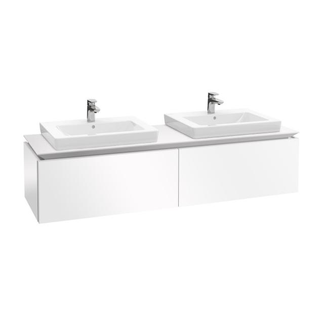 Villeroy & Boch Legato LED vanity unit for 2 built-in washbasins with 2 pull-out compartments front glossy white / corpus glossy white