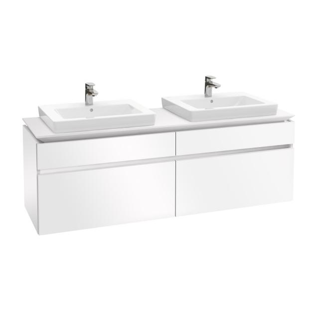 Villeroy & Boch Legato LED vanity unit for 2 built-in washbasins with 4 pull-out compartments front glossy white / corpus glossy white