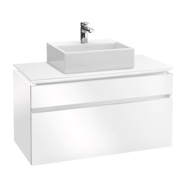 Villeroy & Boch Legato LED vanity unit for countertop washbasin with 2 pull-out compartments front glossy white / corpus glossy white