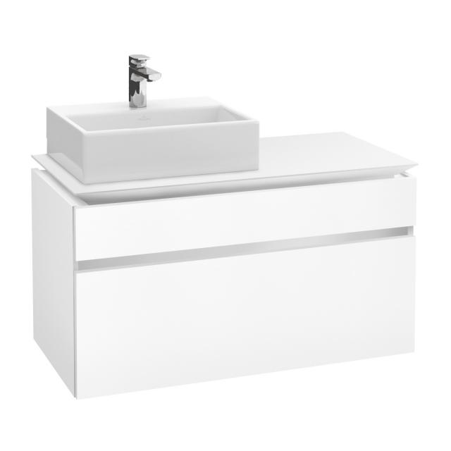 Villeroy & Boch Legato LED vanity unit for countertop washbasin with 2 pull-out compartments front matt white / corpus matt white