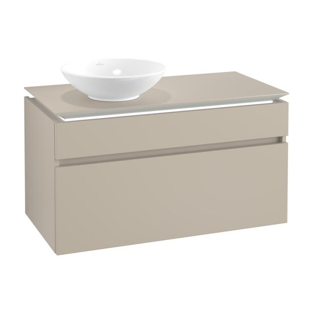 Villeroy & Boch Legato LED vanity unit for countertop washbasin with 2 pull-out compartments front soft grey / corpus soft grey