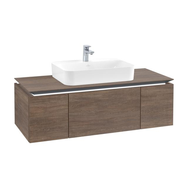 Villeroy & Boch Legato LED vanity unit for countertop washbasin with 3 pull-out compartments front santana oak / corpus santana oak