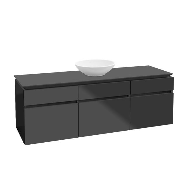Villeroy & Boch Legato LED vanity unit for countertop washbasin with 5 pull-out compartments front glossy grey / corpus glossy grey
