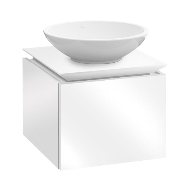 Villeroy & Boch Legato LED vanity unit for countertop washbasin with 1 pull-out compartment front glossy white / corpus glossy white