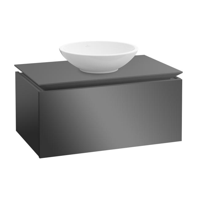 Villeroy & Boch Legato LED vanity unit for countertop washbasin with 1 pull-out compartment front glossy grey / corpus glossy grey