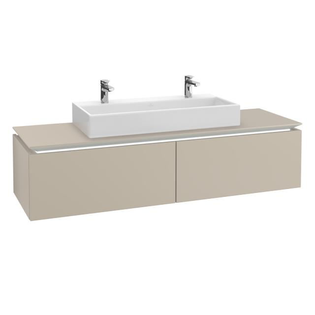 Villeroy & Boch Legato LED vanity unit for double washbasin with 2 pull-out compartments front soft grey / corpus soft grey