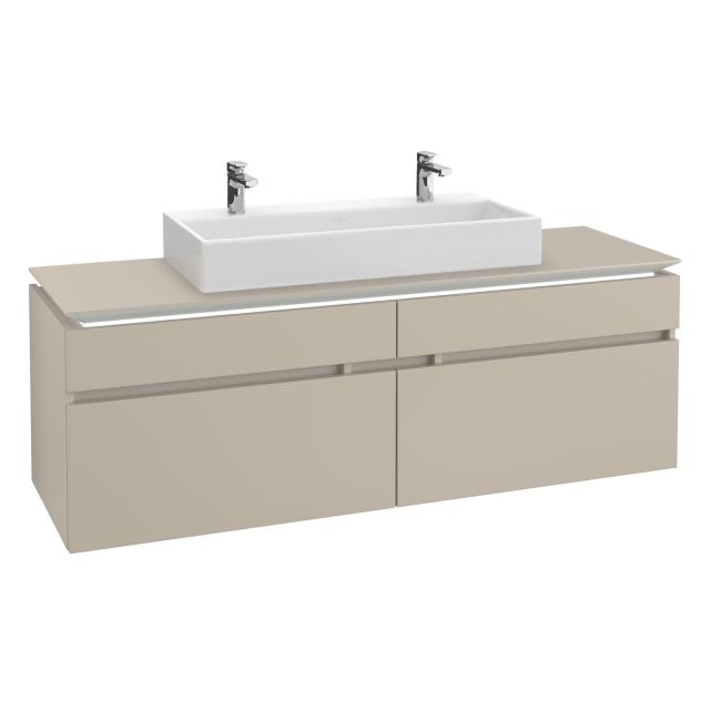 Villeroy & Boch Legato LED vanity unit for double washbasin with 4 pull-out compartments front soft grey / corpus soft grey