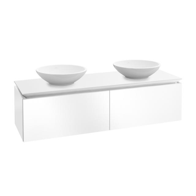 Villeroy & Boch Legato vanity unit for 2 countertop washbasins with 2 pull-out compartments front glossy white / corpus glossy white
